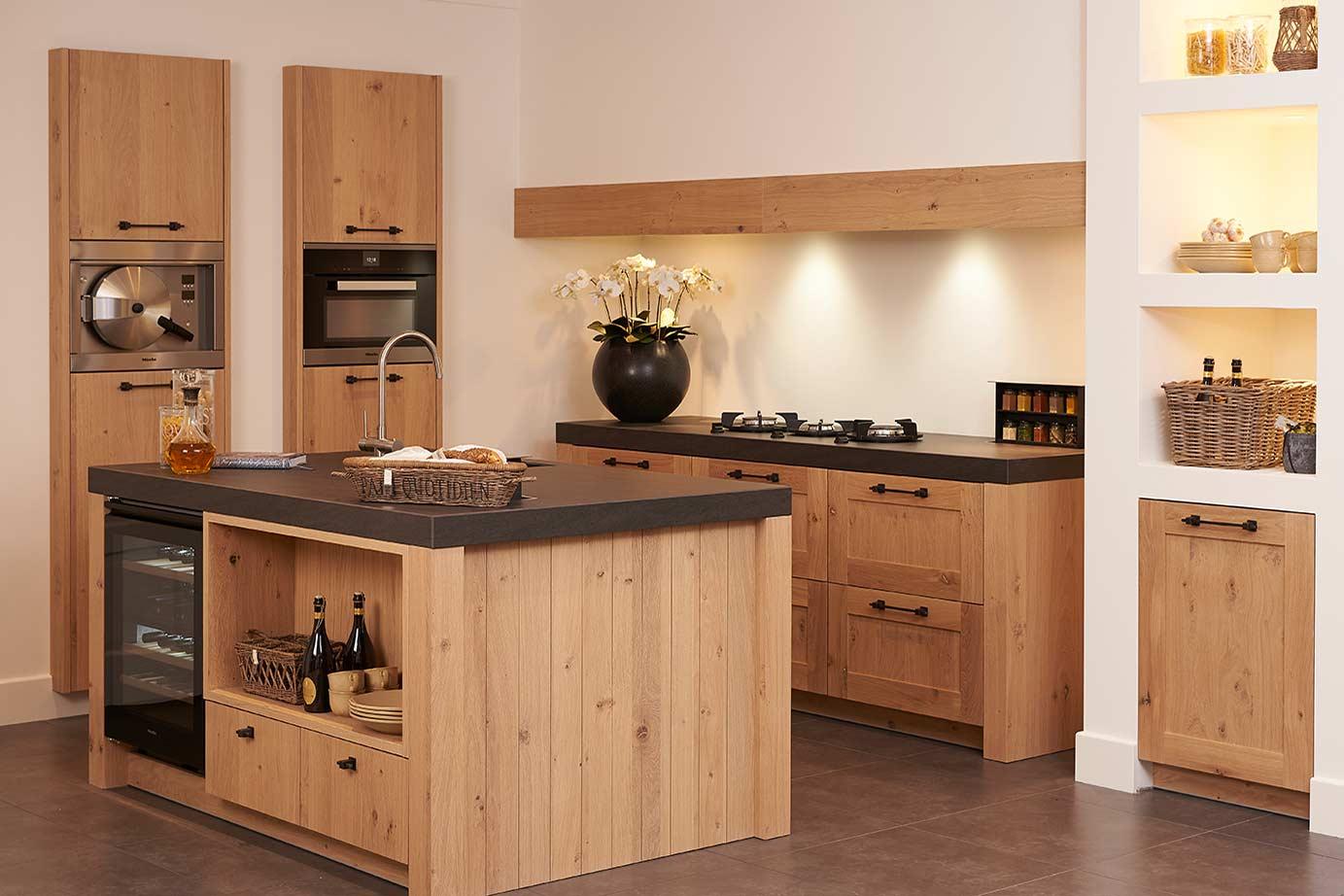 Moderne keuken hout modern witte keuken met een warm houten accent